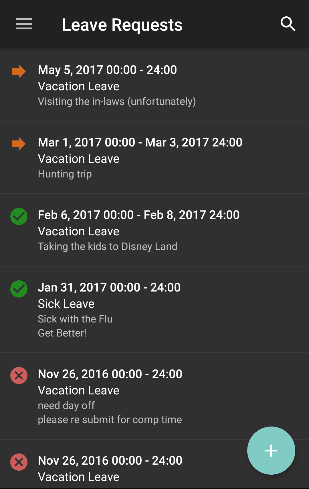 MyTime Mobile App Leave Requests